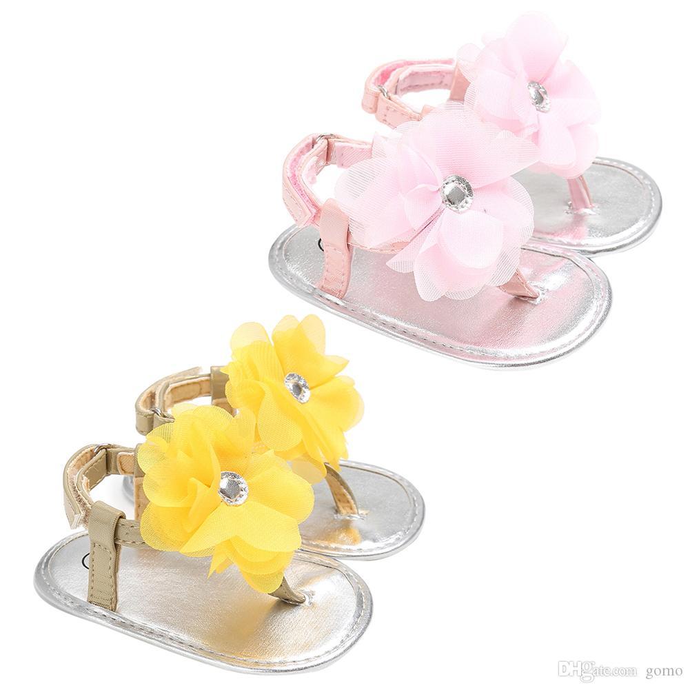 الصيف الوليد الفتيات الأميرة الصنادل أحذية الطفل الصيف زهرة الأحذية الوردي / الأصفر أطفال النعال Prewalkers 0-24M