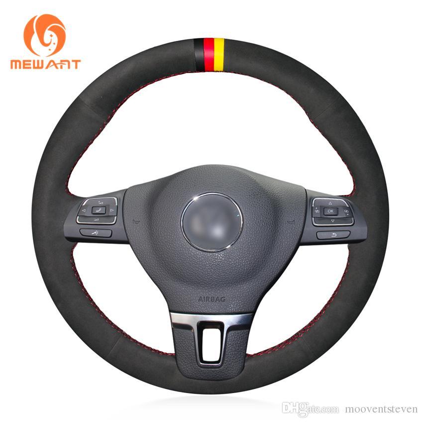 MEWANT Black Suede Car Steering Wheel Cover for Volkswagen VW Gol Tiguan Passat B7 Passat CC Touran Jetta Mk6