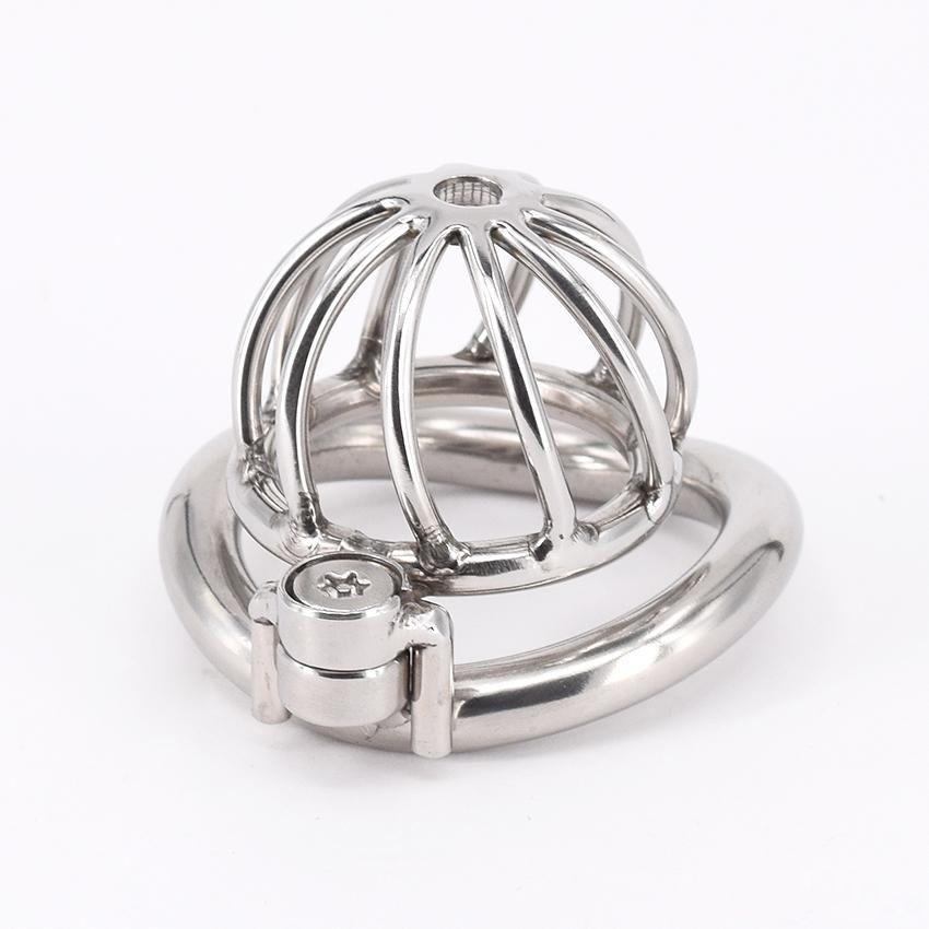 SODANDY Chastity Devices Männlich Kleiner Penis Lock-Edelstahl-Keuschheitsgürtel Metall Penis Cage für Männer mit Curved Penis-Ringe
