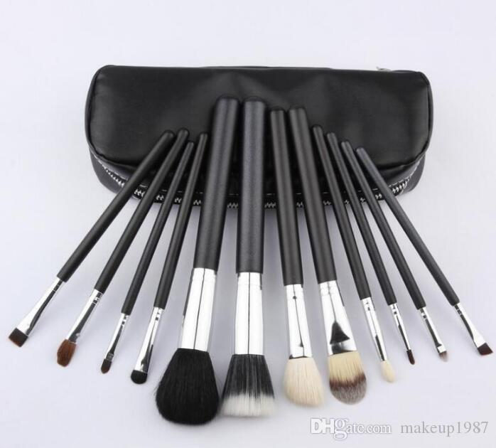 lowest price /hot new 12Pcs/set Professional black Makeup Brushes with leather pouch