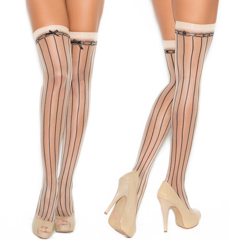 Delle donne discoteche collant di pizzo a righe liscio stretto sottile calze al ginocchio calze autoreggenti solido sexy lingerie pigiama tuta