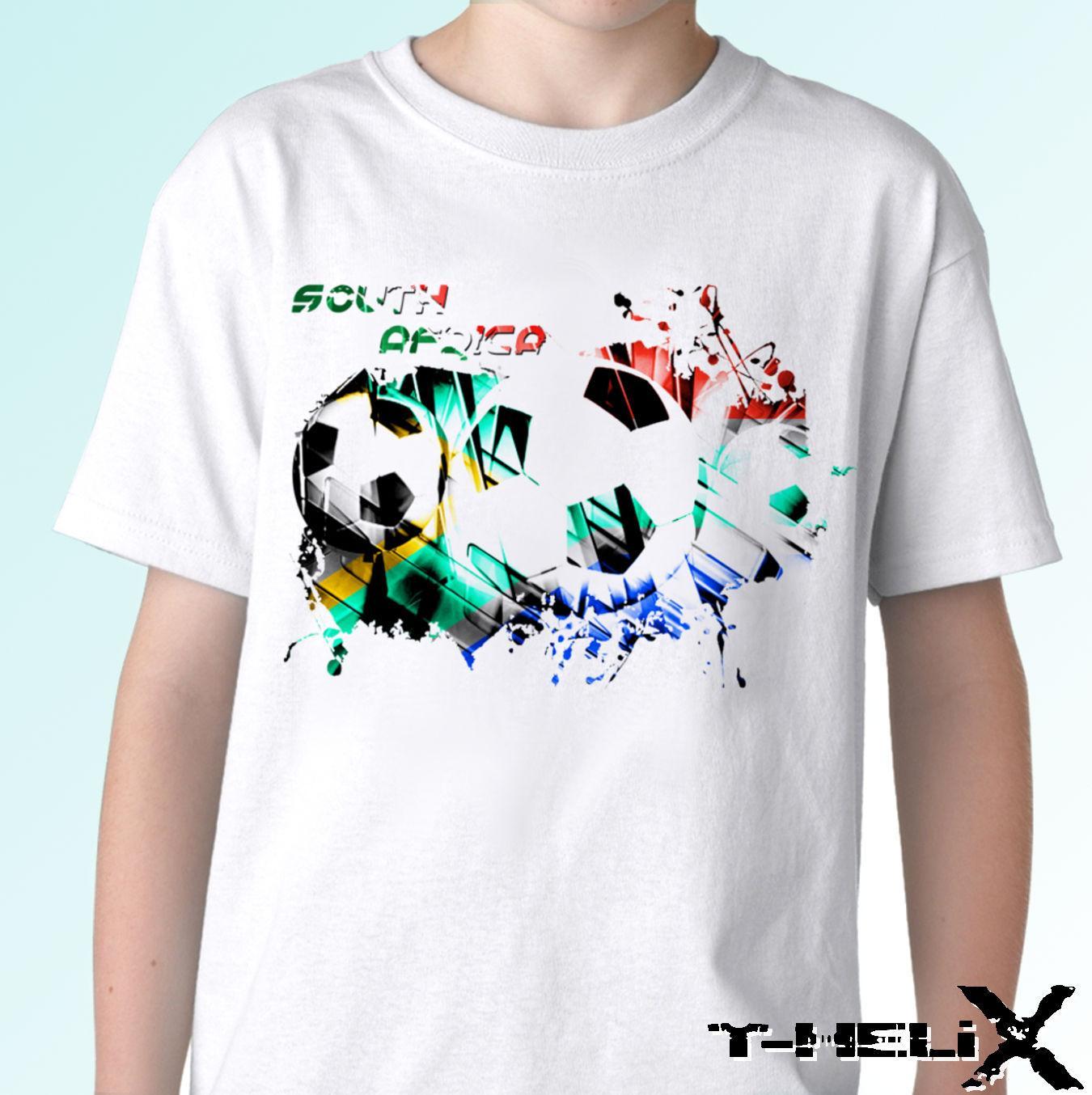 Drapeau de football de l'Afrique du Sud - T-shirt blanc - Hommes Femmes