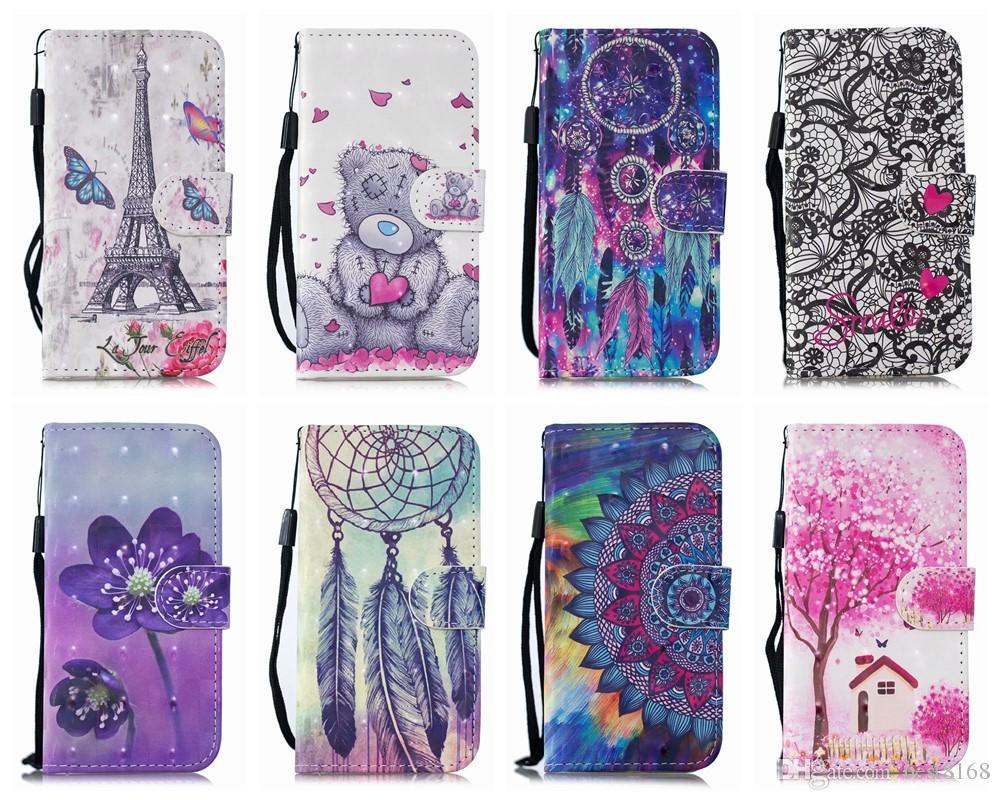 Étui de portefeuille en cuir de la tour Eiffel de fleur 3D pour iPhone 12 mini 11 xs xs max x 10 8 7 6 SE 5S Card Carte Slot ID Bear Tree Dreamcatcher Flip Couverture