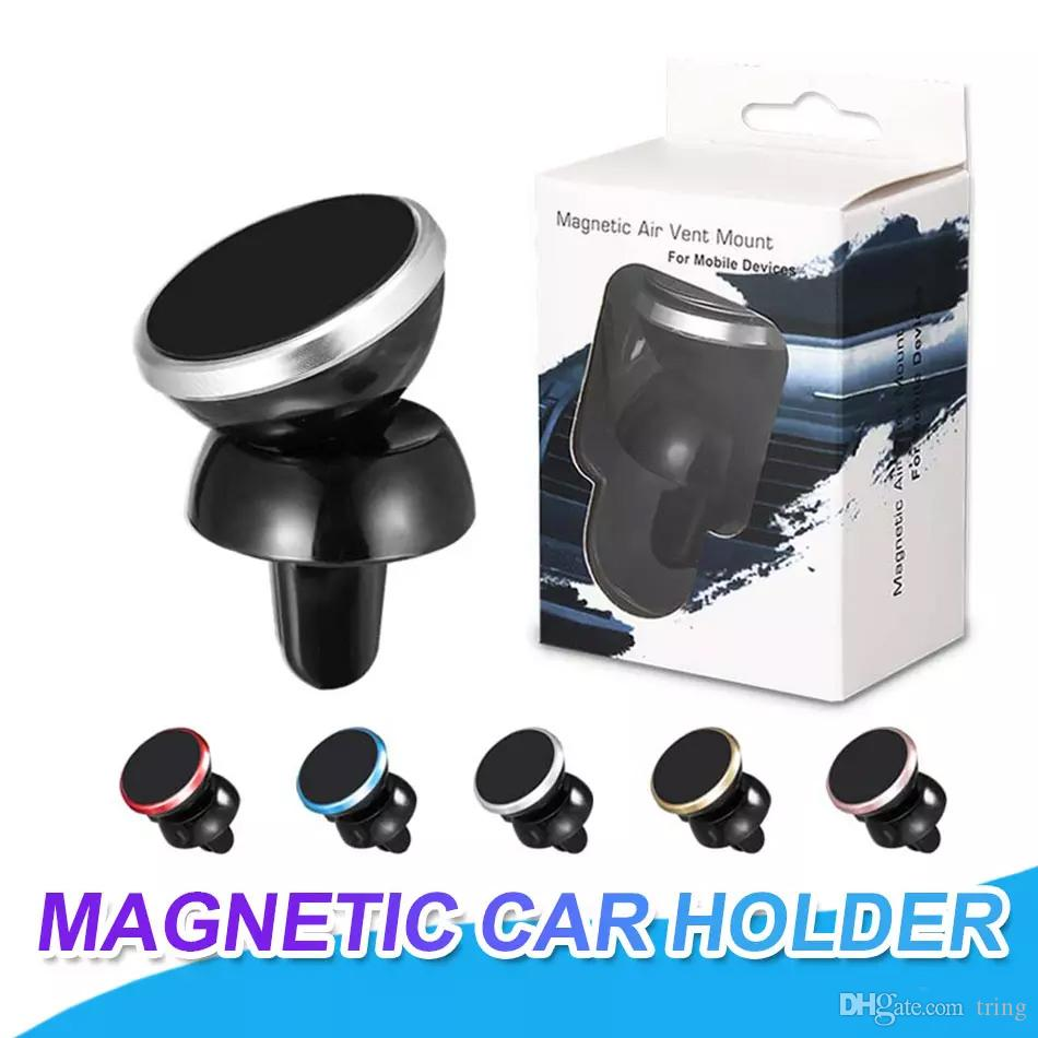 Universal Car Holder Mini magnetic Air Vent Mount Holder for mobile phone 360 degree rotatable cellphone mount With Retail Package