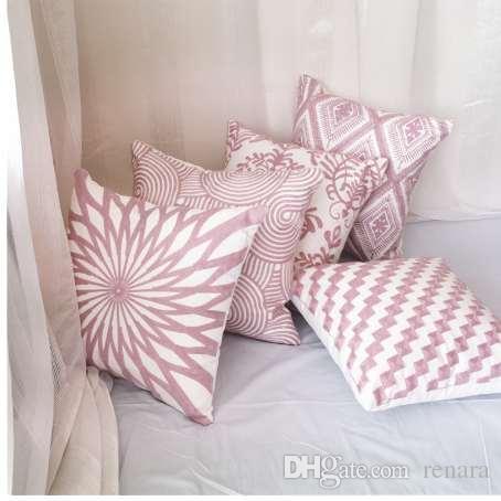 Enipate 북유럽 핑크 던져 베개 형상 수 놓은 스트라이프 홈 장식 베개 로맨틱 선물 쿠션 커버