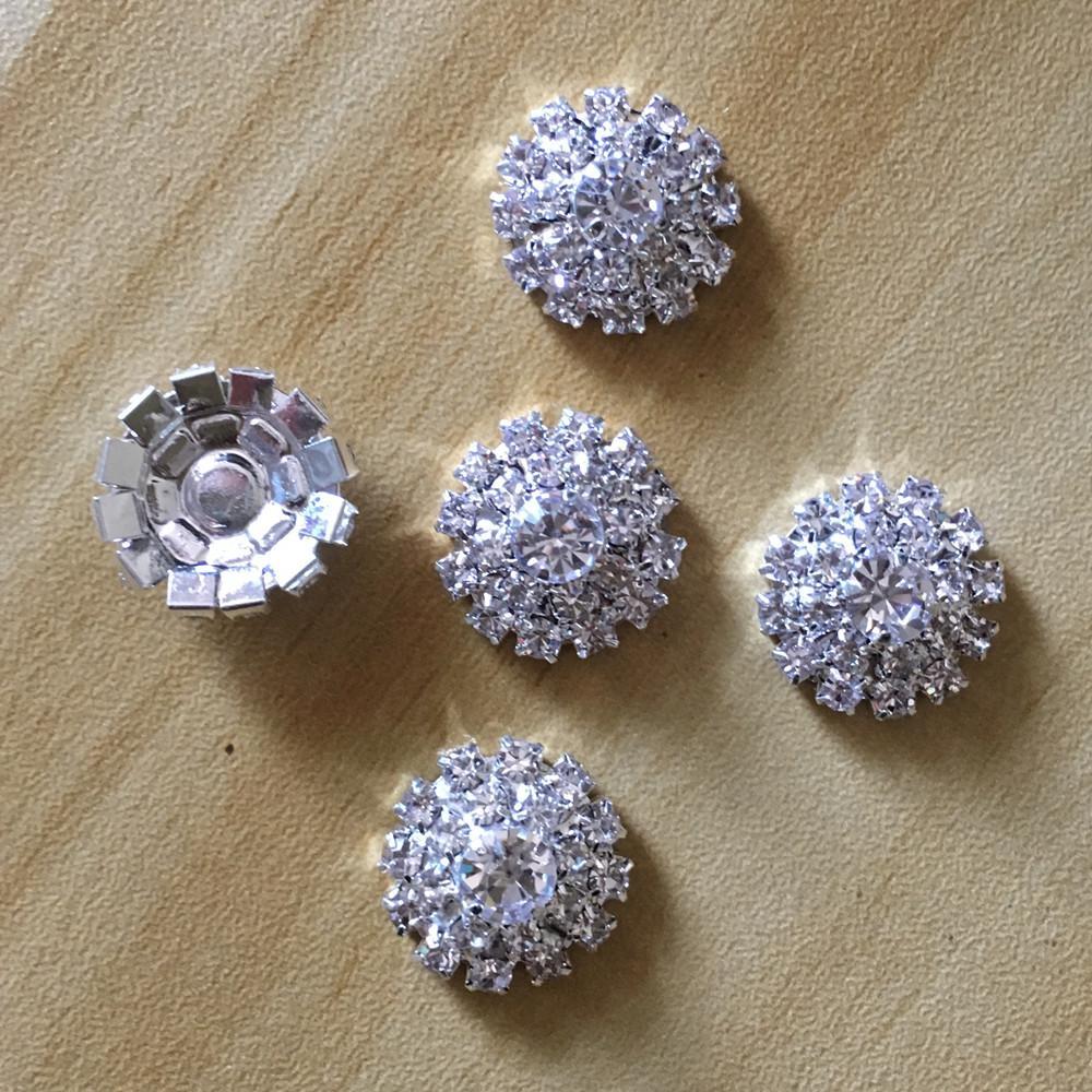 5pcs 23mm Golden Round Crystal Rhinestone Buttons Flatback Crystal Embellishment