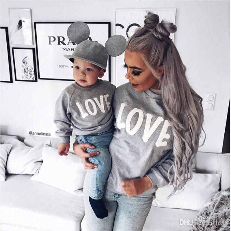 Matching família hoodies camisolas letras impressas Pai Mãe Filho Família Filha Matching Outfit Roupas manga comprida O pescoço Hoodies