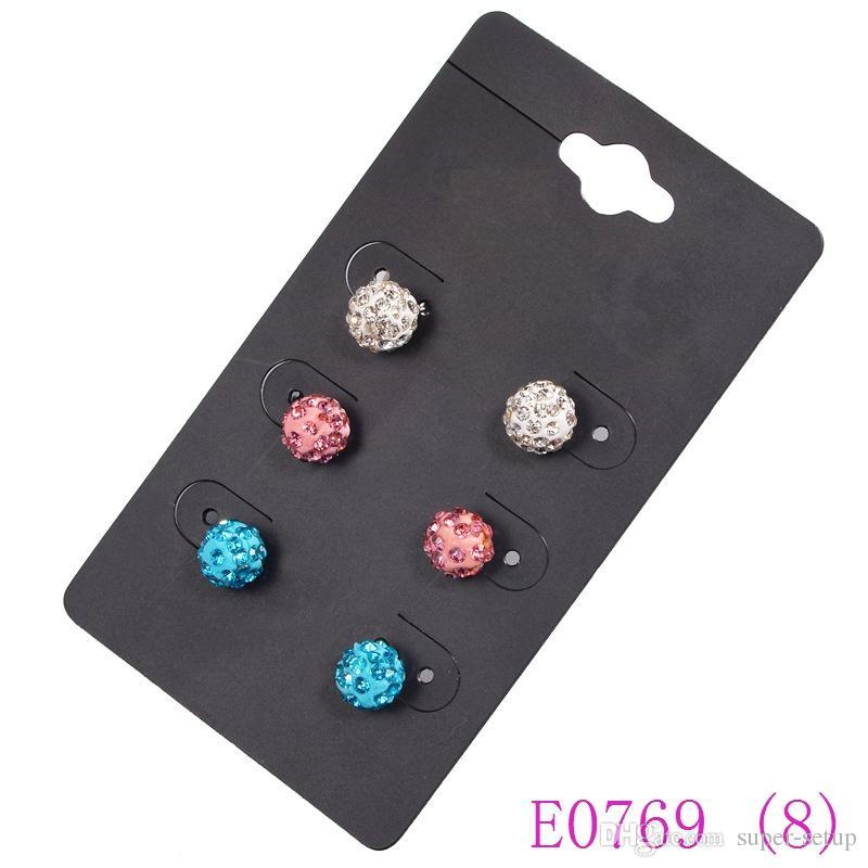 Jewelry earrings 3 sets /pack Mixed stud hoop charms dangle earring For Women faddish Crystal Rhinestone Alloy eardrop E0769