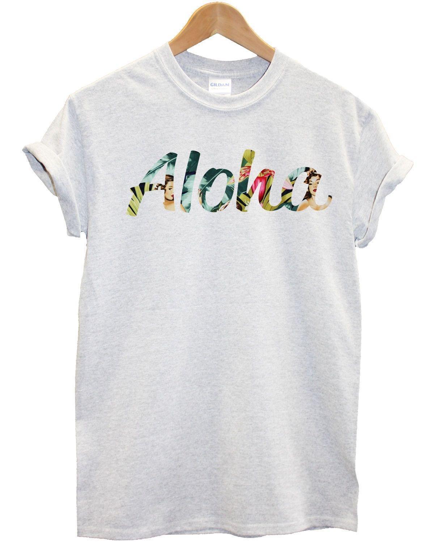 Aloha pin up girl print t shirt hawaii Hawaïen Hula Hipster d/'été Hommes Femmes
