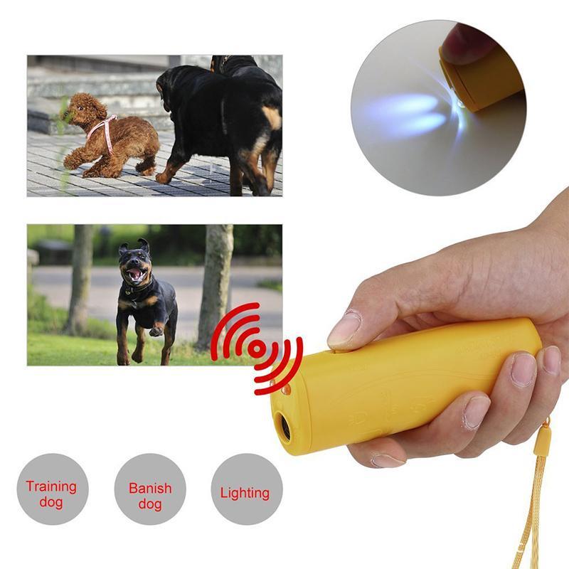 Alta calidad 3 en 1 contra Barking parada de la corteza ultrasónica para Mascotas de formación Repelente de entrenador de perros dispositivo de entrenamiento Desterrar con luz LED