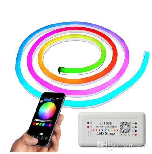 Неоновая светодиодная лента Flex Rope Light 24 В IP67 Водонепроницаемый светодиодная лента диммер Гибкая лента для наружного освещения с Wi-Fi контроллер диммер