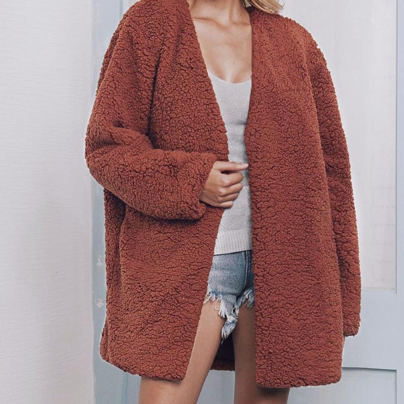 Capispalla casual donna alla moda Faux Fur Warm Plush con scollo a V Casual Medium Long Jacket 2018 Autunno Inverno Soft Zipper Coat