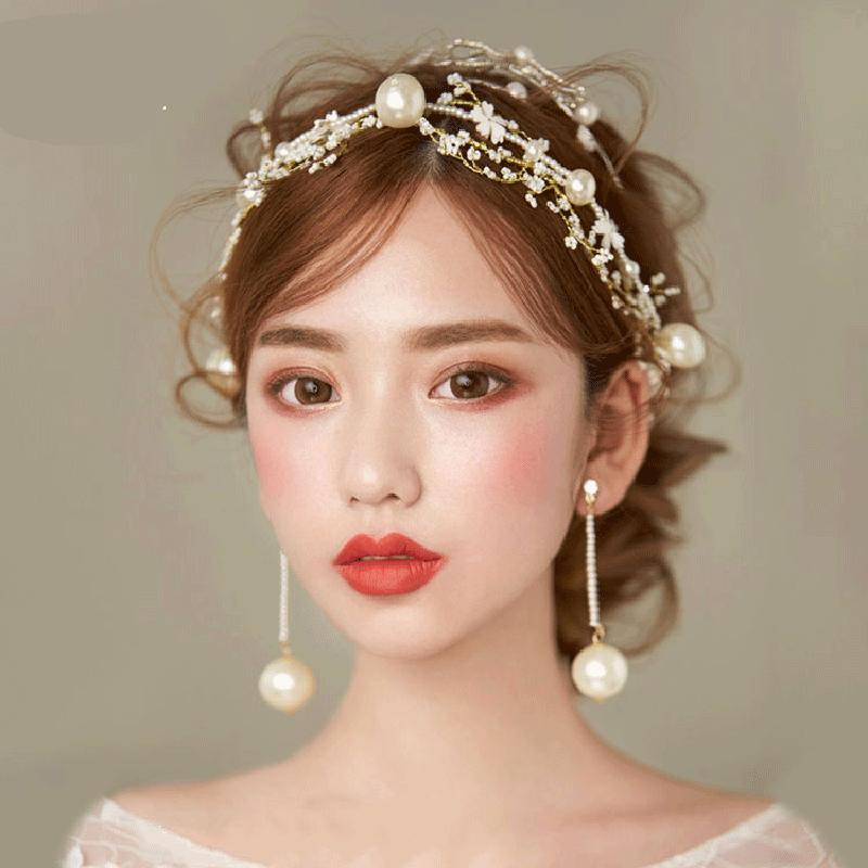 Comb flower brill simple beautiful flower large pearl mi Zhu headband, pearl earring necklace set wedding modeling accessories