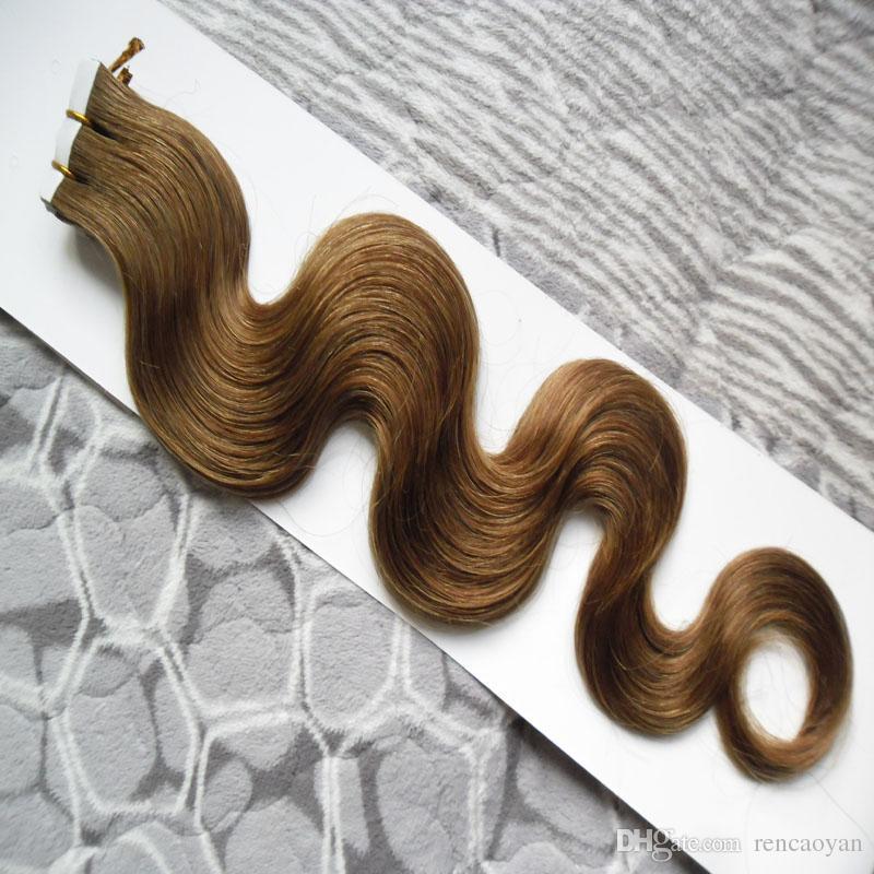 Fita em extensões de cabelo humano 100g fita de trama de pele extensões de cabelo 40 pçs / lote brasileiro corporal wave cabelo produtos