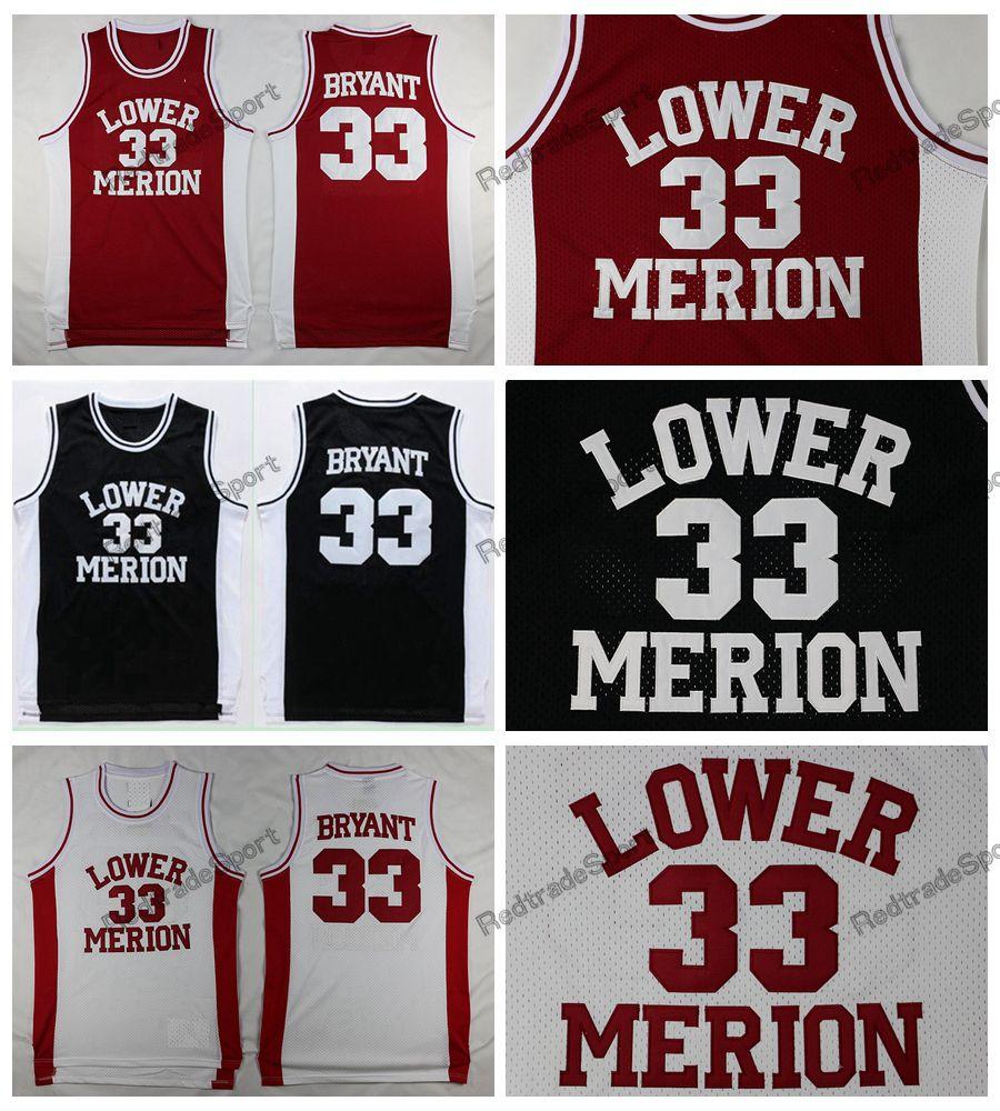Bryant Bryant para hombre de la vendimia Lower Merion High School secundaria de baloncesto jerseys Rojo Negro Blanco barato cosido camisas