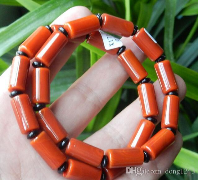 Natural red agate red cylindrical fashion DTY bracelet bracelet men and women barrel beads wheel beads hand jewelry