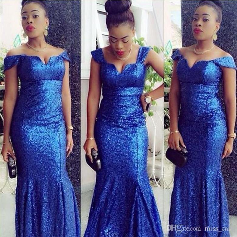 Sparkly Royal Blue Paillettes Robes de bal Sans manches sirène longueur de plancher Robes de soirée africaine fête officielle du Nigeria Occasion Robe