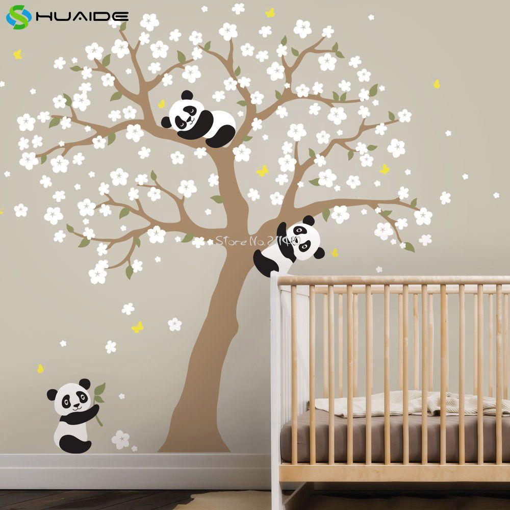 Großhandel Cute Panda Und Cherry Blossom Baum Wandtattoo Für Kindergarten  Große Baum Wandaufkleber Für Kinderzimmer Mädchen Boy Zimmer Wand Tattoo ...
