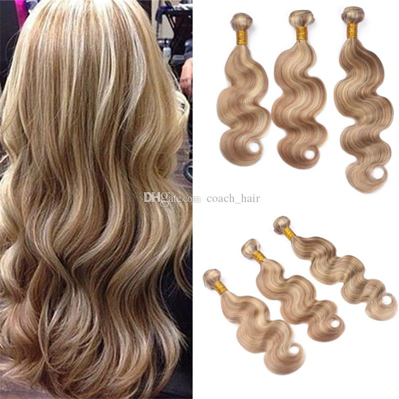 Virgin Malaysian Piano Human Hair Bundles 27 613 Honey Blonde Highlights Body Wave Virgin Hair Weave Bundle Deals 3Pcs Lot