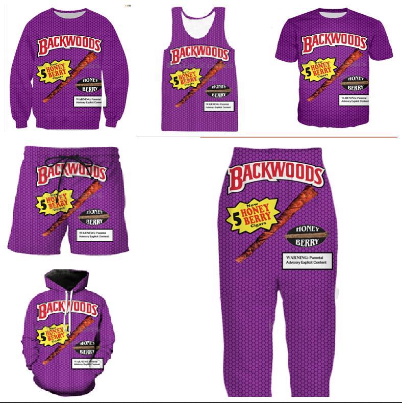 Venta al por mayor - 2018 verano Nuevo estilo Moda camiseta Backwoods Honey Berry impresión 3d para mujer para hombre camiseta ocasional ZLMQQ01
