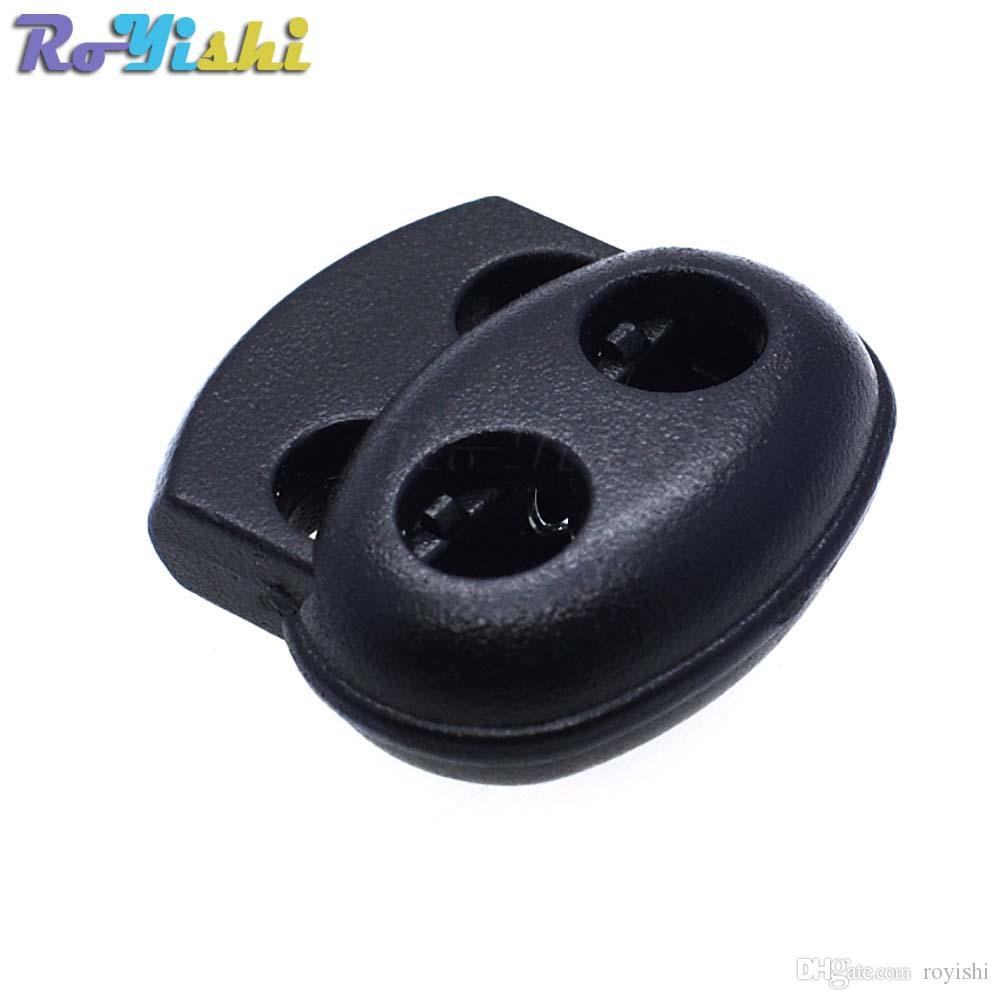 100 قطعة / الوحدة البلاستيك الحبل قفل سدادة تبديل كليب أسود 17.5 ملليمتر * 19 ملليمتر * 5.6 ملليمتر