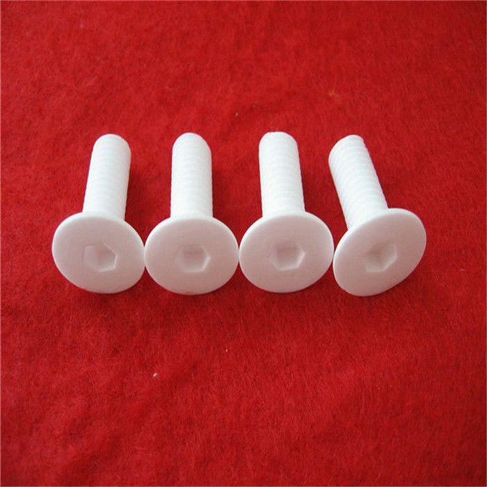 Tornillos de cerámica de alta calidad de alúmina M8x20mm Tornillos de cabeza plana Perno Tornillo de óxido de aluminio Clavo Lag Spike