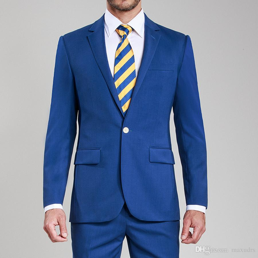 Les tuxedos de marié de ventes chaudes Custom Made Man costumes de châle revers Roral bleu costumes de mariage des mariés Tailleur costume Blazer (veste + pantalon)