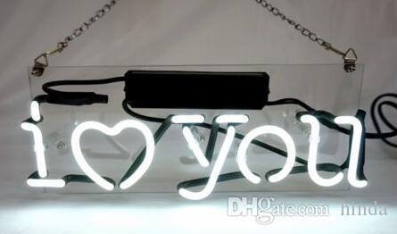 17 * 14 inç Seni Seviyorum Cam Neon Burcu DIY Flex Halat Işık Kapalı / Açık Dekorasyon RGB Gerilim 110 V-240 V