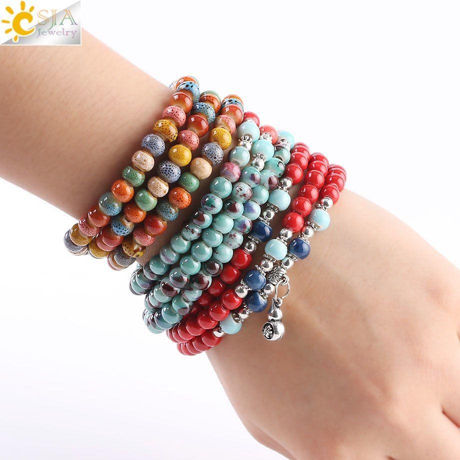 CSJA New Arrival Noosa Jewelry Colorful Porcelain Ceramic Beaded Bracelets Retro Silver Charms Women Multilayers Wrap Strand Bracelet S186