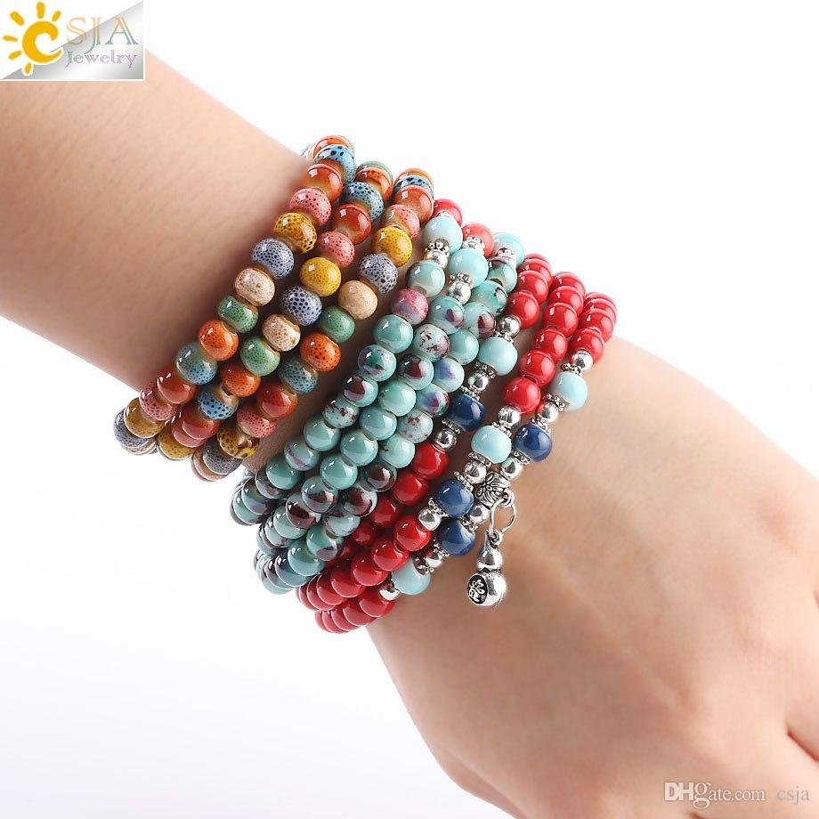 CSJA New Arrival Noosa Jewelry Colorful Porcelain Ceramic Beaded Bracelets Retro Silver Charms Women Multilayers Wrap Strand Bracelet S186