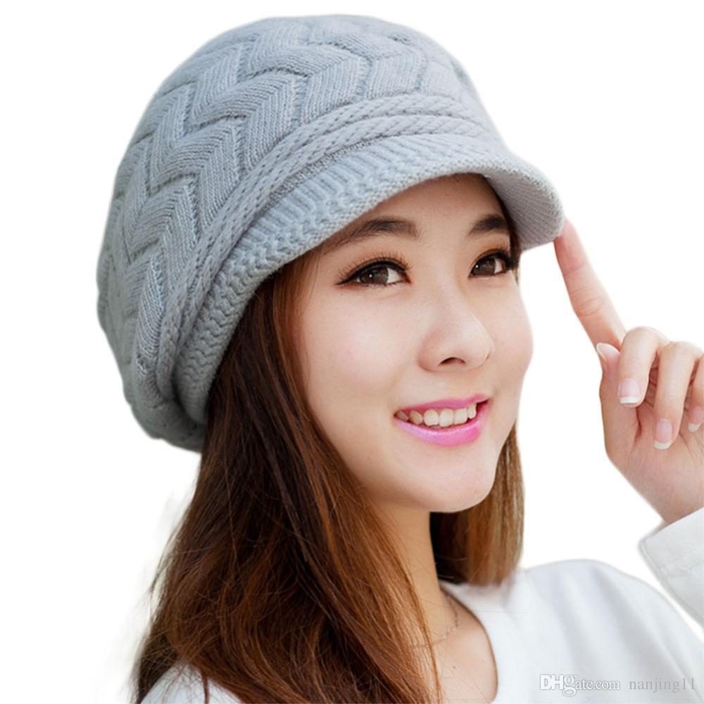 Nuevas mujeres de invierno sombrero cálido gorros de lana dentro de sombreros de punto para mujer de piel de conejo Gorra de otoño e invierno señoras de moda sombrero