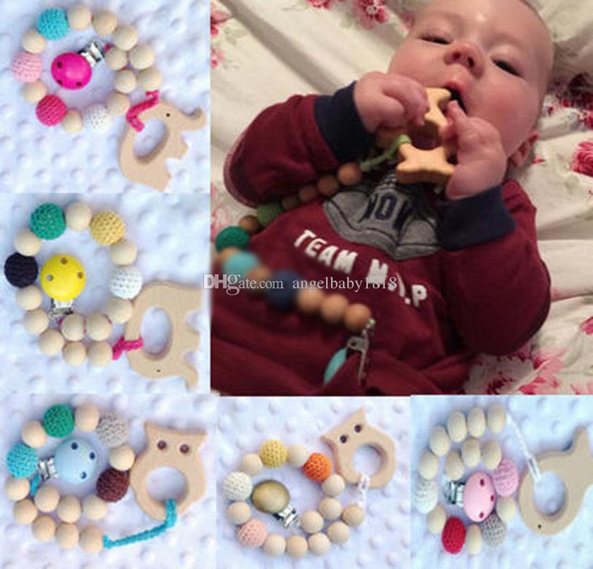 neue Art und Weise IN 10 Farben Baby-Regenbogen-Holzperlen Beißringe Kleinkind Schnuller Baby Anti-off-Kette