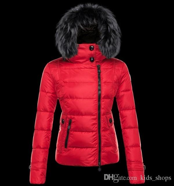 Hot sale M Women 90% White Duck Down Coats Black /Red Down Jackets Big Real Large Raccoon Fur Collar Hooded Thick Duck Down Parkas size S-XL