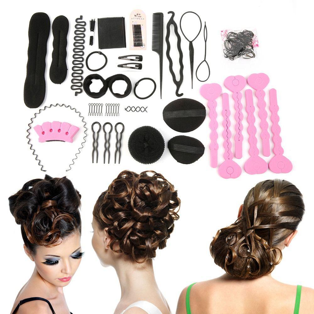 20 pçs / set mulheres tranças mágicas torção do cabelo styling clipe vara bun fabricante de trança ferramenta fácil uso hairstyling braider