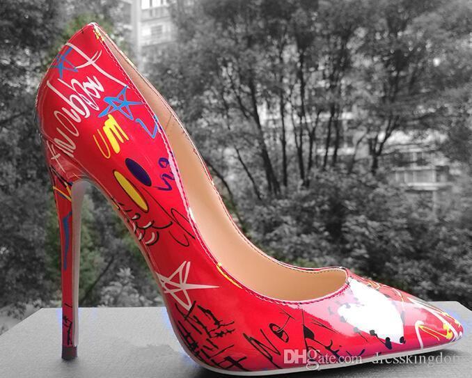 Red lBottom Specia Graffiti Colorido Mulheres Bombas Stiletto Sexy de salto alto Primavera Festa de Casamento Das Mulheres Sapatos femininos sapato feminino