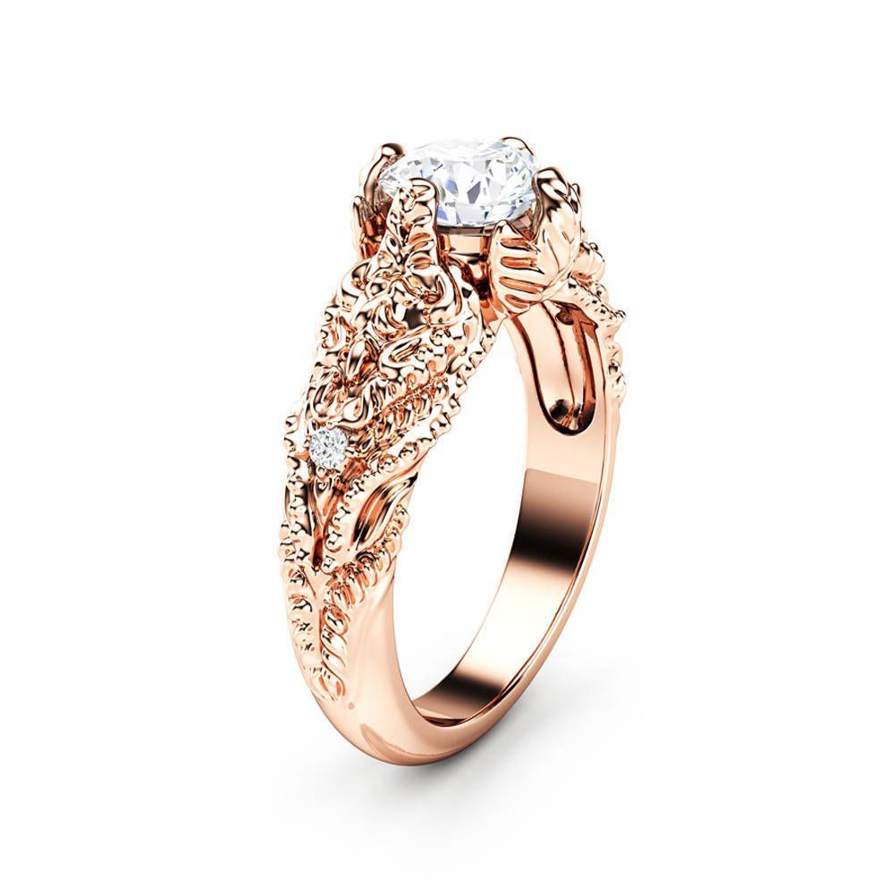 2020 Sleek Minimalist Ring New Exquisite Lady Vine Shape Ring Rose