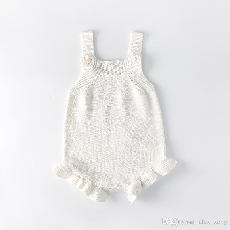 Bebés Meninas Kinitting macacãozinho New INS bebê Crianças escalada de alta qualidade Algodão Knitting Crianças Branco Sling Romper Para 0-2T