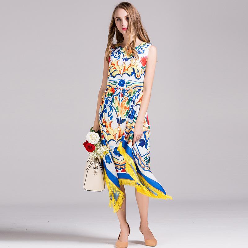 5f0bd3ae83a76 Runway Dresigner Dress Summer Women'S Fashion Sleeveless Blue White  Porcelain Print Sicily Dress +Tassel Shawl Free Fast Express Dress For A  Cocktail ...
