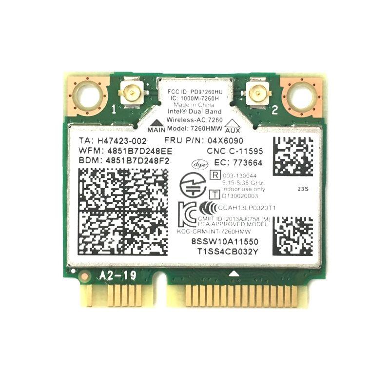 Intel 7260 AC 7260HMW 867Mbps Wireless Wifi BT 4.0 Card For Lenovo FRU 04X6090