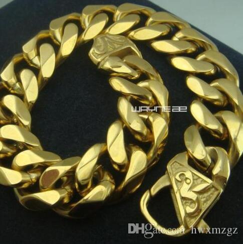 Enfriar la calidad superior chapado en oro para hombre de acero inoxidable Curb pulsera brazalete B154