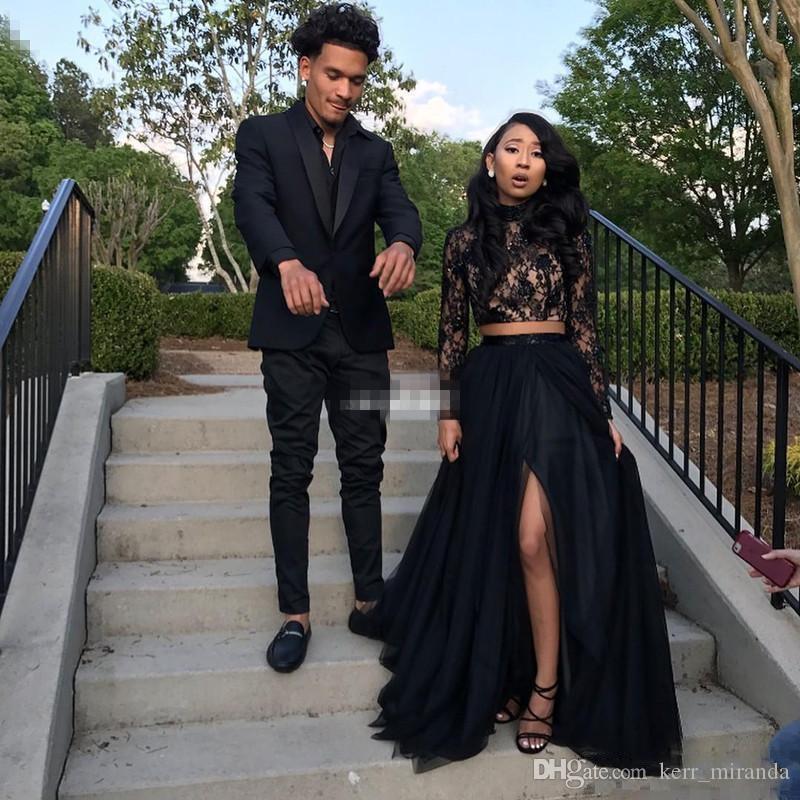 Negro de encaje de manga larga de dos piezas de vestidos de baile sirena cuello alto barato del partido Vestidos formales con alta hendidura vestidos de baile africano DH4070