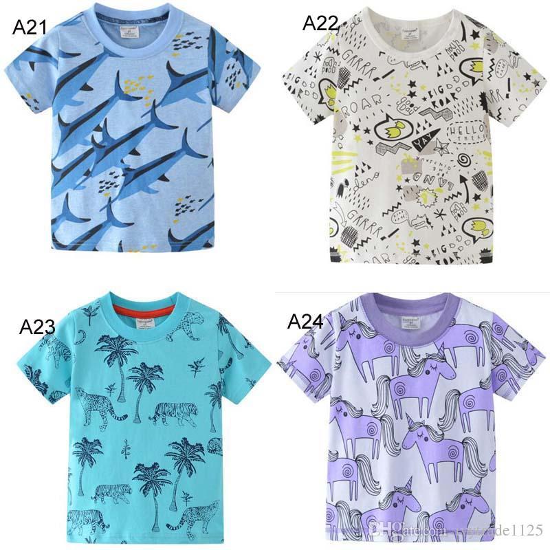 24 stilleri çocuk giyim kız erkek çocuklar% 100 Pamuk Kısa Kollu Sharlk Dinozor Unicorn baskı Tişörtlü erkek kız nedensel yaz t gömlek