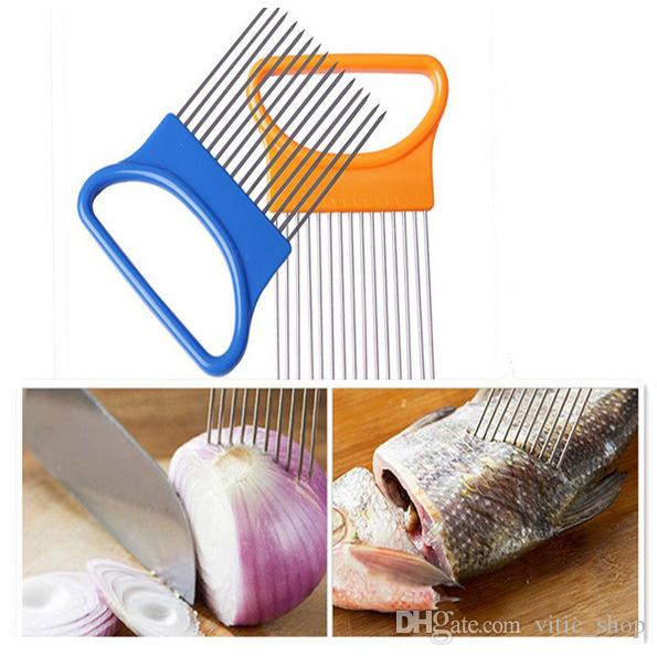 Onion Cut Slicer Plastic Metal Vegetable Slicer Onion peerler Tomato Cutting Aid Guide Tool Kitchen Cooking Accessories Fruit Cutters CFGJ01