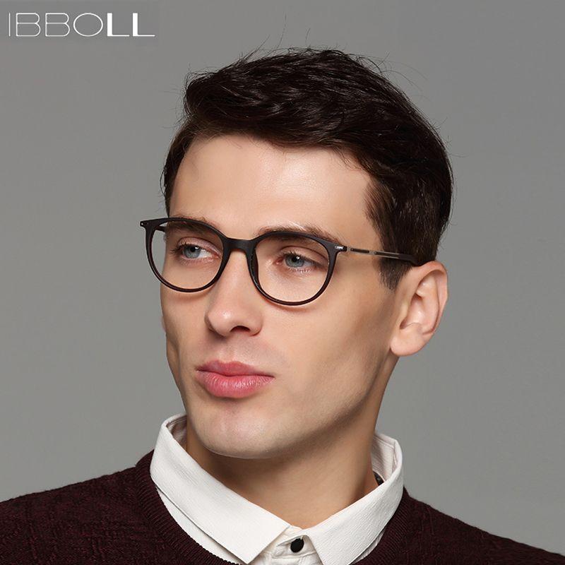 3bfce8475260 ibboll 2018 Fashion Optical Glasses Frame Men Luxury Brand Plastic Round  Eyeglasses with Clear Lens Mens Eye Glass Frames S6077