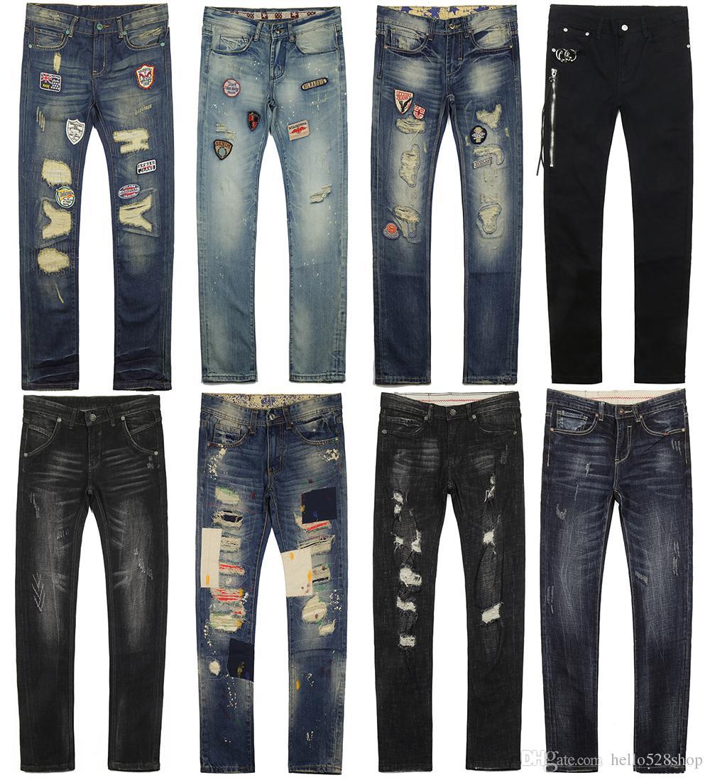 Siyah Mavi Streç Kot Erkekler Moda Ripped Gençlik Düz Gevşek Sıska Yamalar Pantolon Rahat Pantolon Mens için