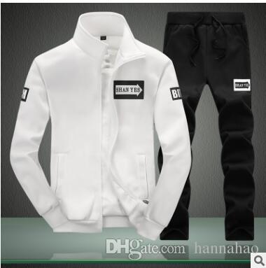 ASALI Spring Set Fleece Sweatshirt Jacket Pants Male Mens Two Piece Sets Sporting Zipper Brand Clothing Tracksuit Stylish Suits