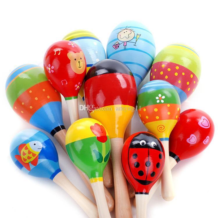 ملون الرضع الرمال المطرقة الطفل راتل طفل صغير خشبي ماديرا آلة ماراكس الموسيقية للأطفال آلات موسيقية الطفل شاكر الأطفال هدية اللعب DHL