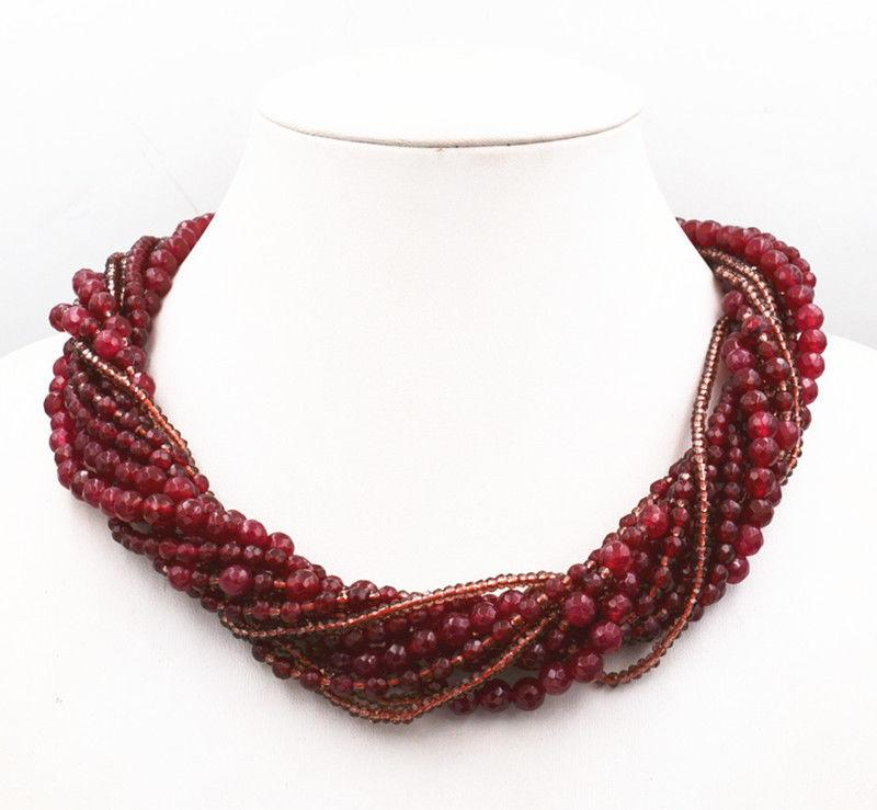 Exquisite Crystal & Scarf Red Garnet Gemstone Bead manual Necklace 10 rows