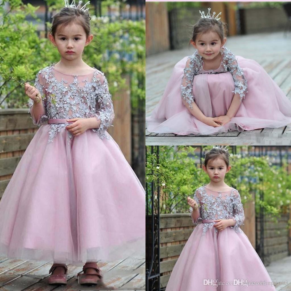 Koronki Długie Kwiat Girl Sukienki na ślub Ograniczone krótkie rękawy Illusion Sheer Sheer Spódnica Flowergirl Suknie z Perły Belt Czech