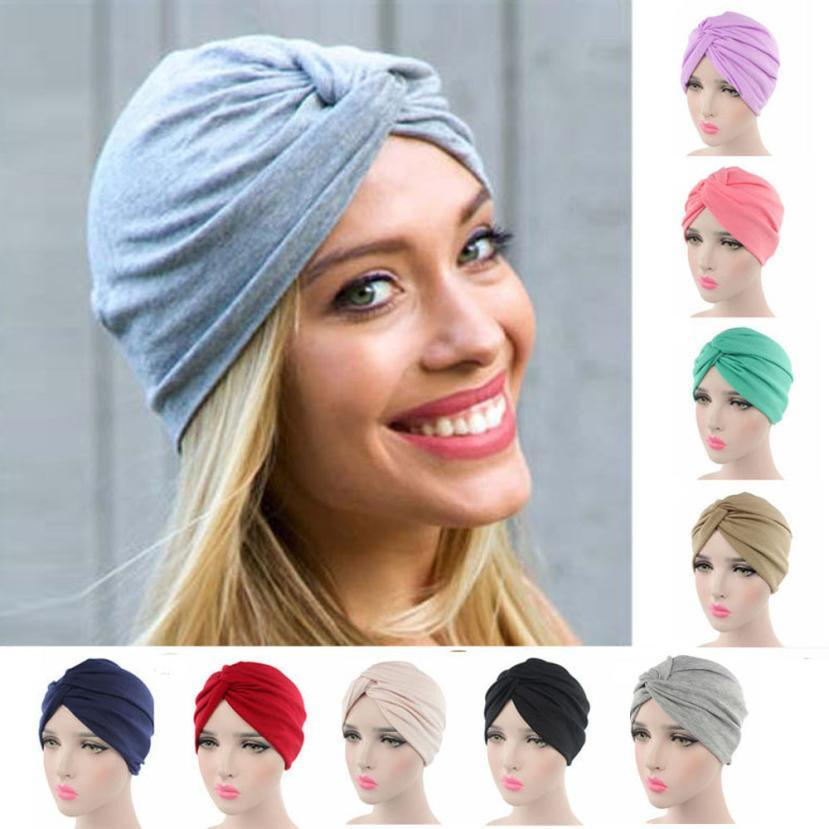 High quality Women Cancer Chemo Hat Beanie Scarf Turban Head Wrap Cap Soft comfortable Cotton Knitted hat lowest Price@casquette Y18102210